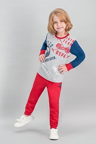 U.S. Polo Assn. Lisanslı Erkek Çocuk Pijama Takımı Gri